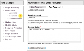 Add New Email Forward